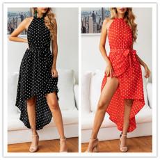 Sexy printed spotty lace irregular dress