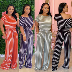 Sexy loose print stripe jumpsuit