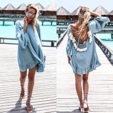Sexy long sleeve open back beach skirt loose