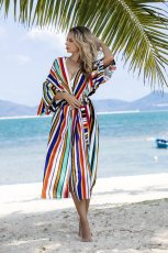 Striped air conditioning shirt holiday bikini blouse
