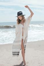 Grey Stripe fringe bikini outer sunscreen