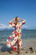Flower and leaf beach smock suntan
