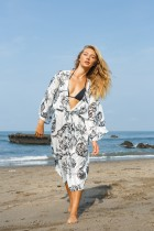 Silk like jacquard air conditioning shirt beach cardigan