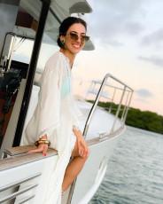 Beach blouse Chiffon pleated lace button dress