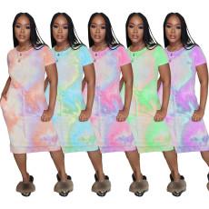Fashion casual elastic waist Tie Dye Dress