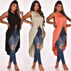 Irregular split Satin sleeveless top