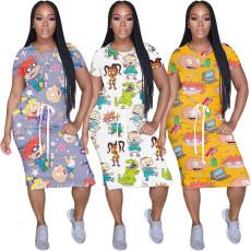 Cartoon digital print dress