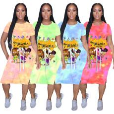 Trend tie dye cartoon dress