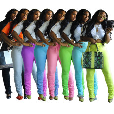 Pleated candy casual pants