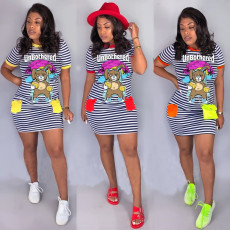 Printed striped bear casual lovely dress
