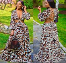 Printed deep V open back dress