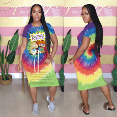 Positioning home clothes printed Tie Dye Dress