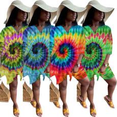Fashion casual tie dye printing two piece set