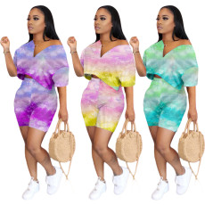 Sexy tie dye off shoulder two piece set