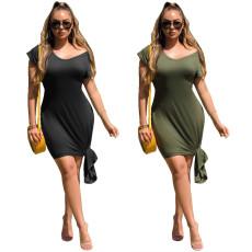 Slim solid dress
