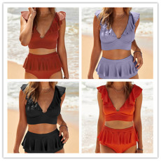 V-neck swimsuit women's Ruffle decoration suit