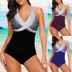 Wave point gradient one piece swimsuit