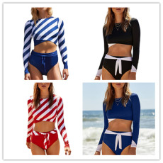Multicolor stripe long sleeve two piece set