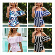 Sexy Halter off shoulder Ruffle swimsuit