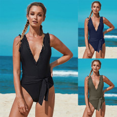 Deep V fashion Ruffle waist strap one piece swimsuit