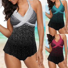 Split swimsuit wave point gradient swimsuit suit