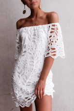 Lace embroidered hollow dress