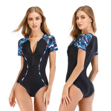 One piece short sleeve swimsuit