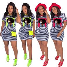 Fashion casual stripe head print dress
