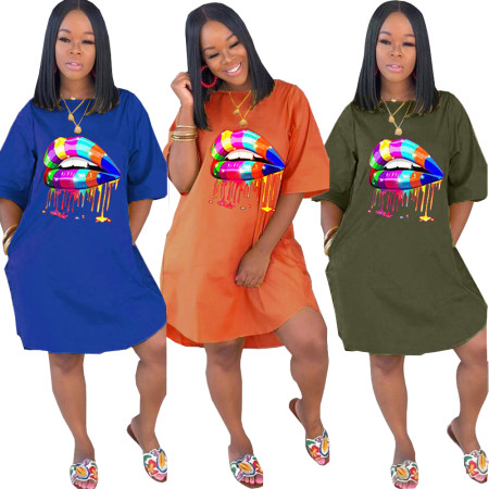 Fashion casual solid print dress