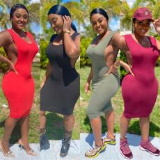 Sleeveless large split dress