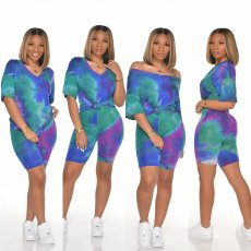 Tie dye V-neck leisure fashion home Sports Shorts Set