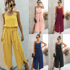 Fashion V-neck sling wide leg side split Jumpsuit
