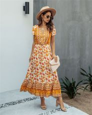 Fashion printed V-Neck long dress