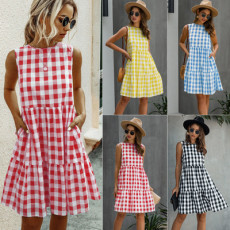 Fashionable round neck Plaid Dress