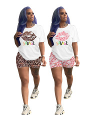 Printed casual Street Sports two piece set