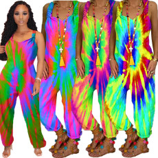 Suspender open back tie dye Jumpsuit