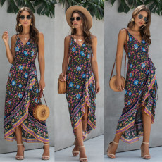 Vintage printed Halter V-neck dress