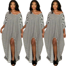 Sexy stripe split off shoulder dress