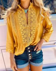 Solid Lace Top Long Sleeve Shirt