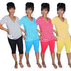 Fashionable color striped T-shirt and Pants Set