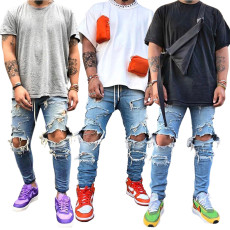 Fashion trend light blue men's jeans without elastic holes