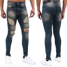 Fashion trend dark blue men's jeans with holes