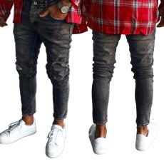 Fashion trend Black Slim Hole men's jeans