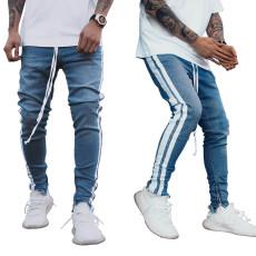 Fashion trend dark blue white zip small leg men's jeans