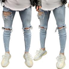 Fashion trend light blue men's jeans