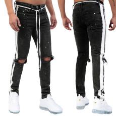Fashion trend black white slim hole men's jeans