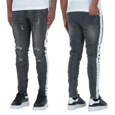 Fashion trend dark grey white slim hole men's jeans
