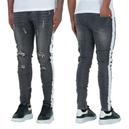 Fashion trend dark grey white slim hole men's jeans