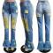 Fashion washed frayed fringe jeans