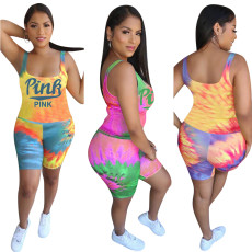 Cute tie dye letter two piece set